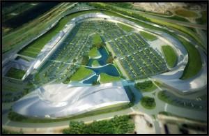 Vue aérienne 3D centre commercial Waves à Metz