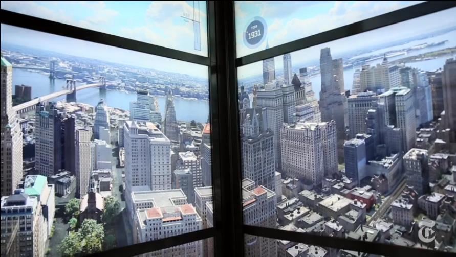 Magnifique Time Laps de l'historique de la vue de New York à travers l'ascenseur du World Trade Center