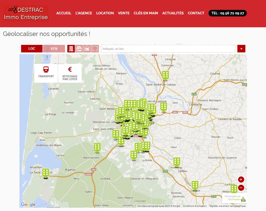 Le module Geolocaux intégré au site de Destrac Immo Entreprise
