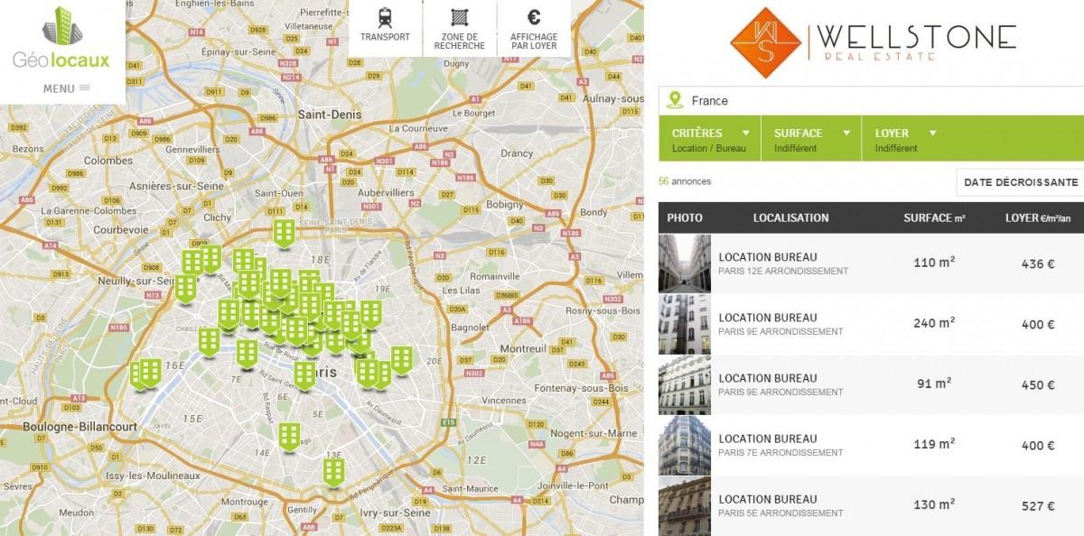 Annonces géolocalisées Wellsone Real Estate Paris Bureaux lcoation vente Geolocaux