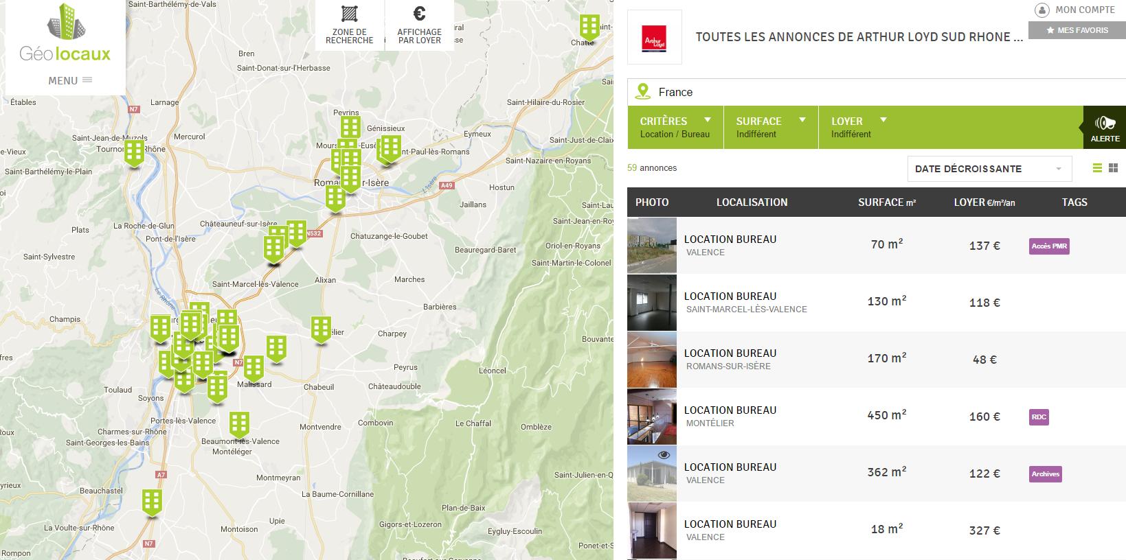 Les bureaux à louer d'Arthur Loyd Sud Rhone Alpes à Valence et Romans-sur-Isère