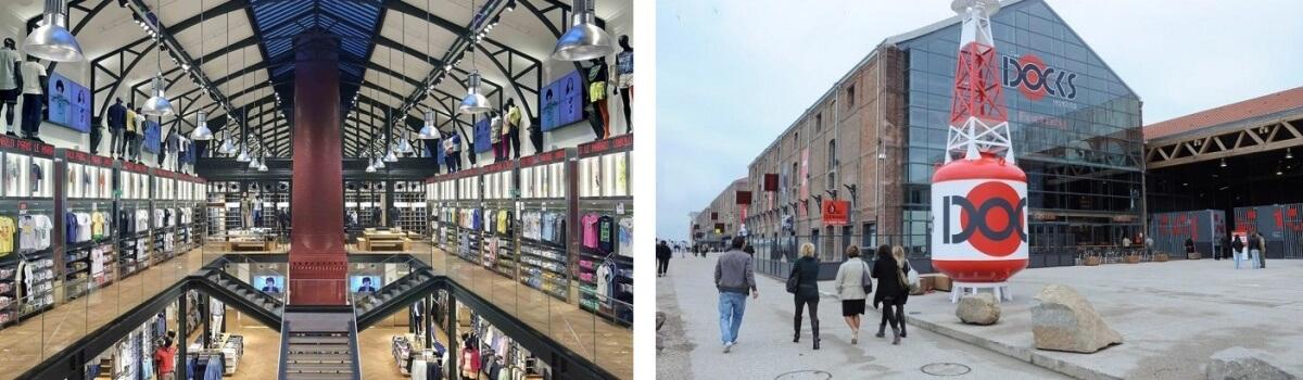 commerces dans des bâtiments historiques Docks Vauban Le Havre et Uniqlo Marais